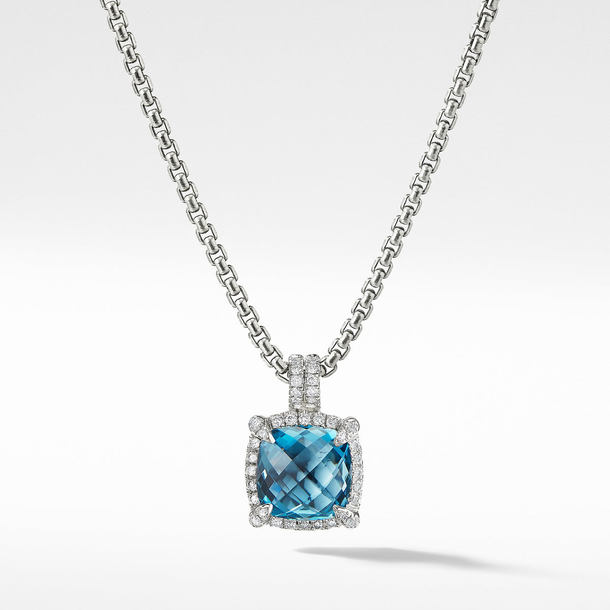 Chatelaine Pave Bezel Pendant Necklace with Hampton Blue Topaz and Diamonds, 9mm