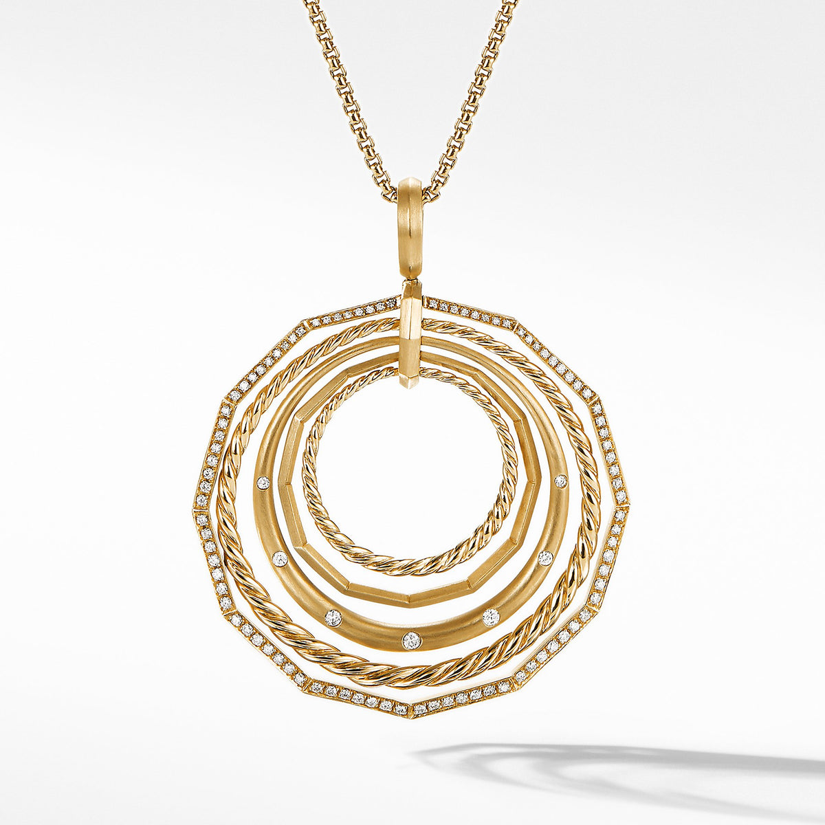 Stax Long Pendant Necklace with Diamonds in 18K Gold 41mm