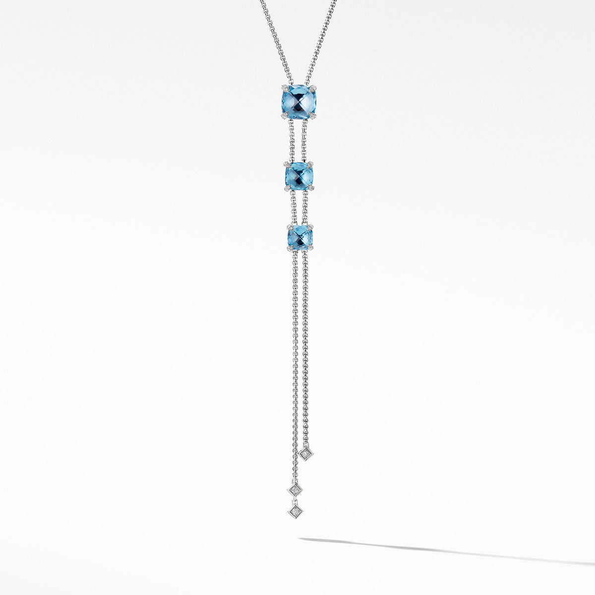 Chatelaine Y Necklace with Blue Topaz and Diamonds