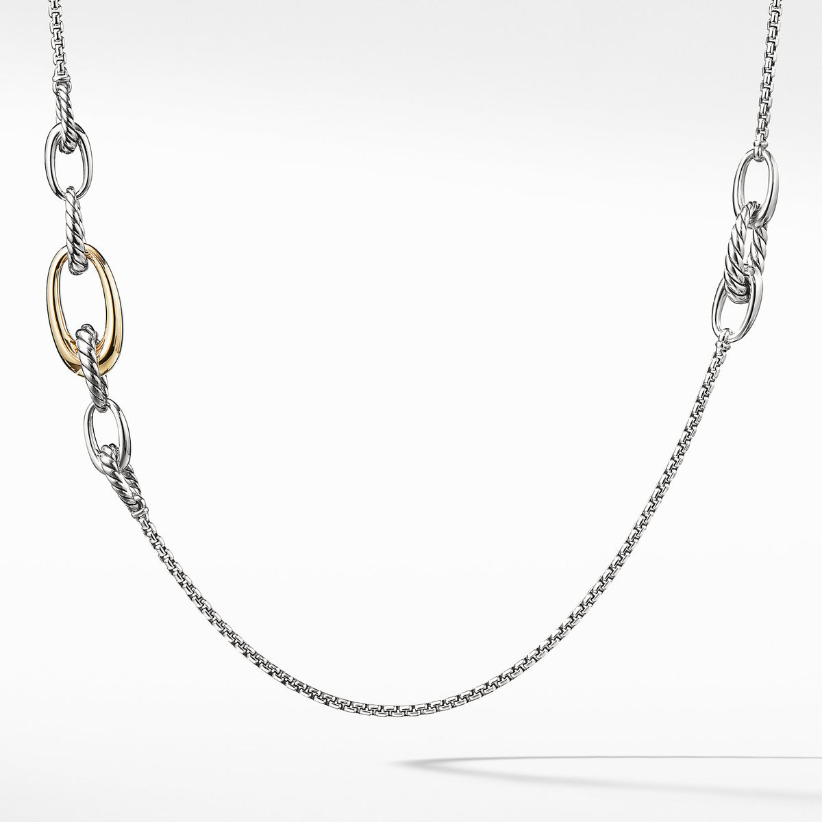 Pure Form Chain Station Necklace with 18K Gold
