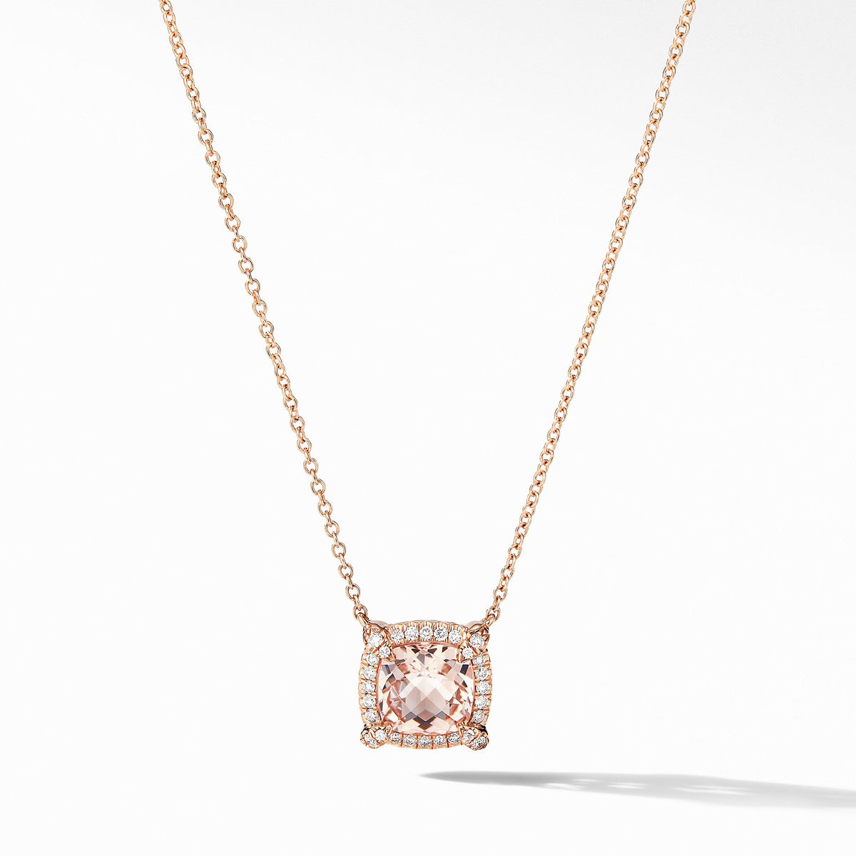 Petite Chatelaine Pave Bezel Pendant Necklace in 18K Rose Gold with Morganite