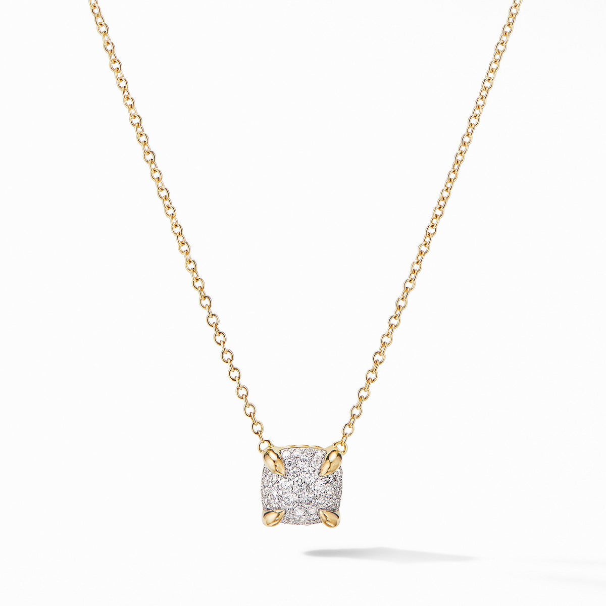 Chatelaine Pendant Necklace in 18K Yellow Gold with Full  Pave Diamonds