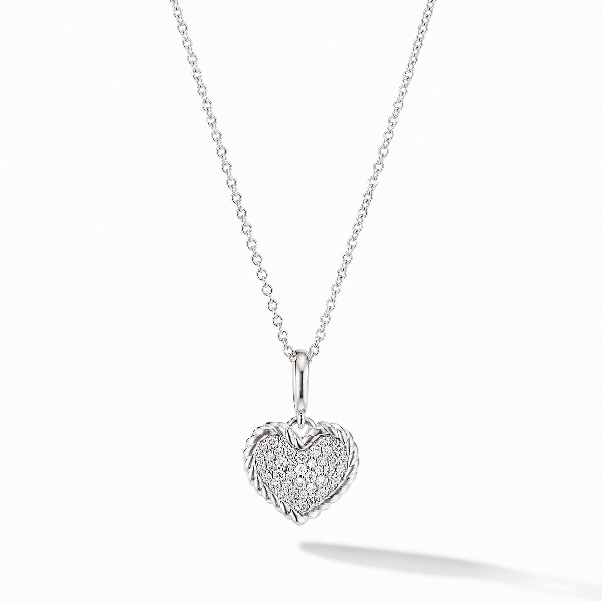 Cable Collectibles Pav預late Heart Charm Necklace in 18K White Gold