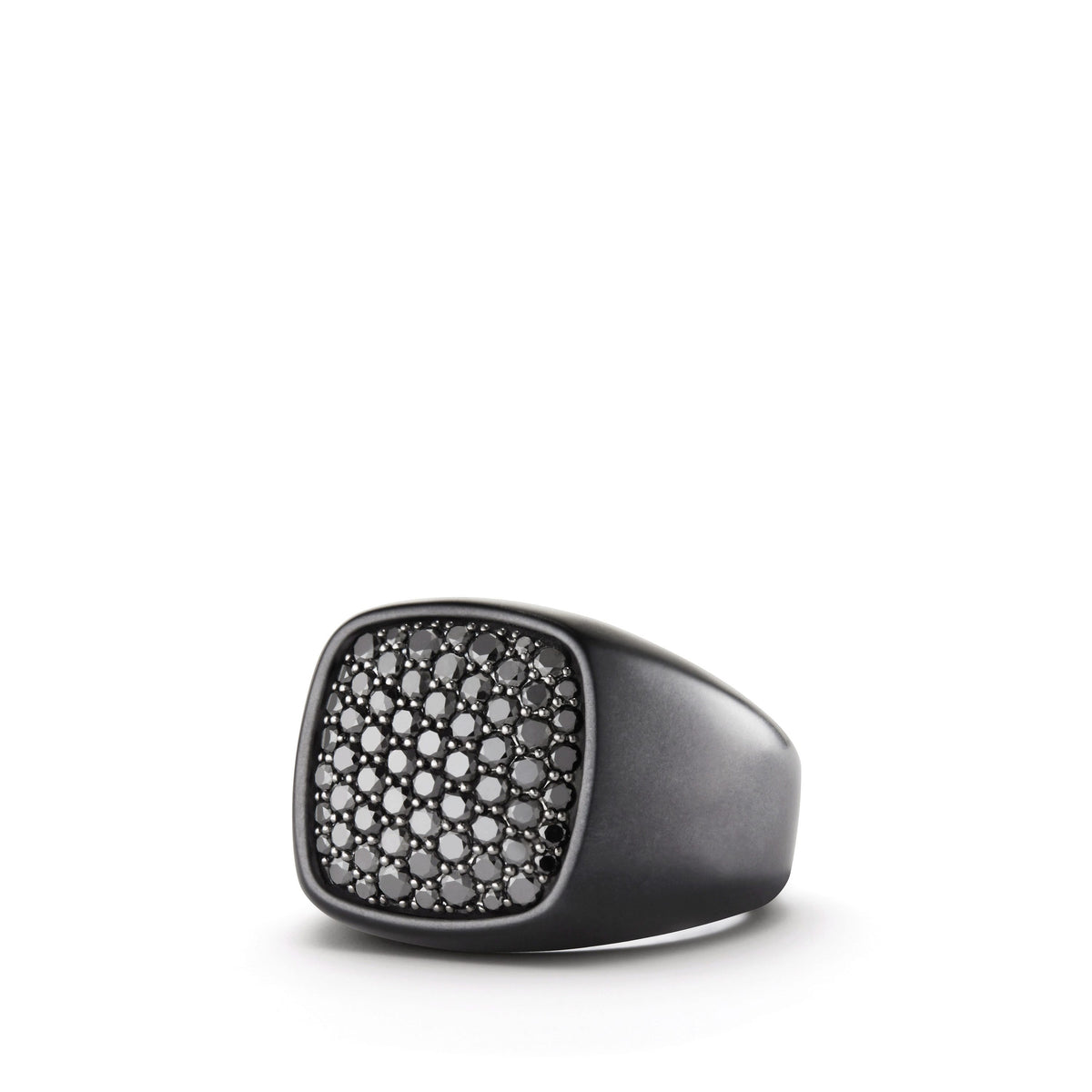 Pave Signet Ring with Black Diamonds and Black Titanium
