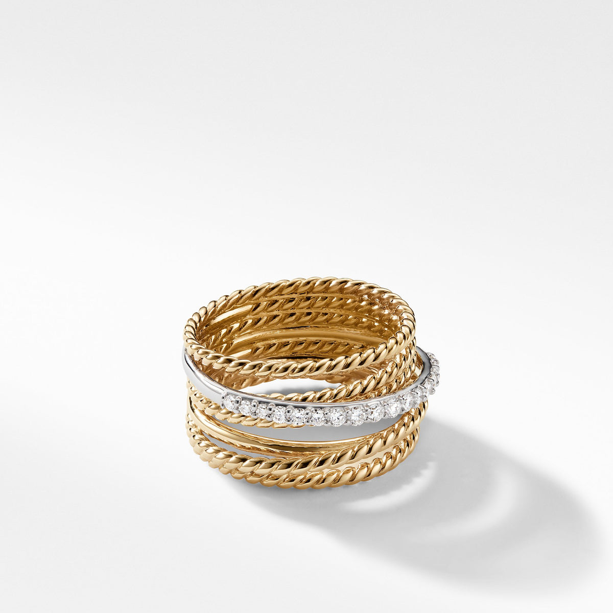 The Crossover Collection Wide Ring with Diamonds in 18K Gold