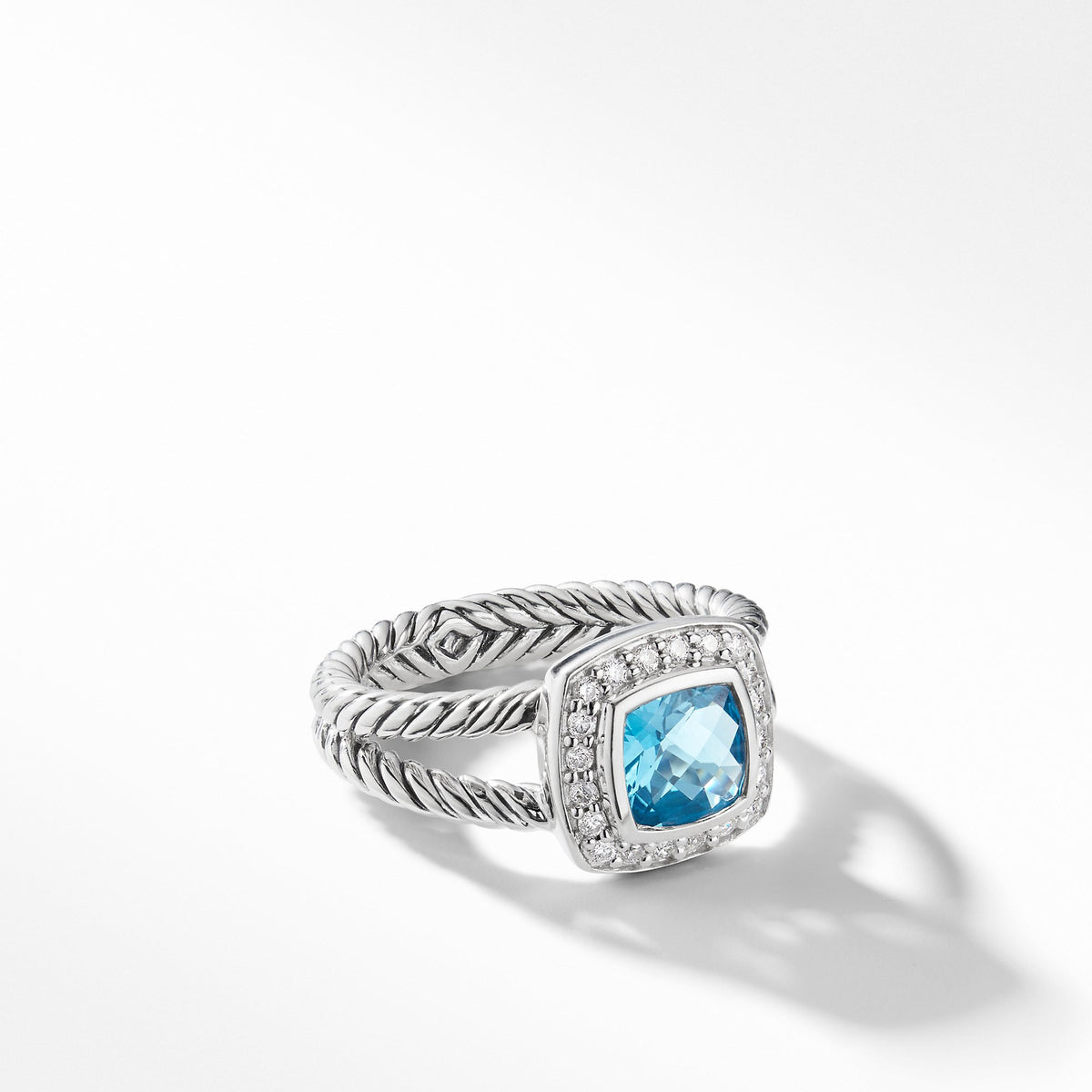Petite Albion Ring with Blue Topaz and Diamonds