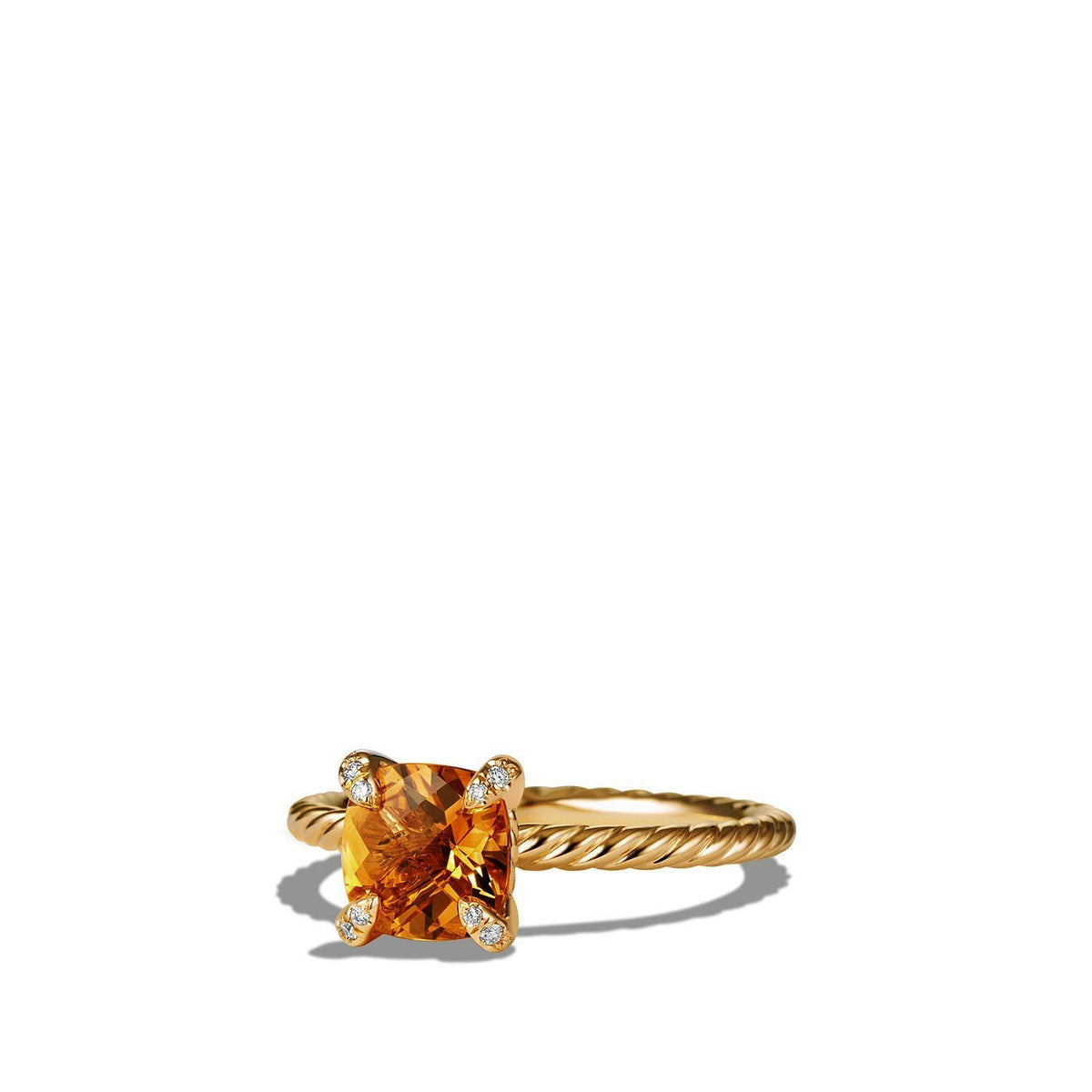 Ring with Citrine and Diamonds in 18K Gold