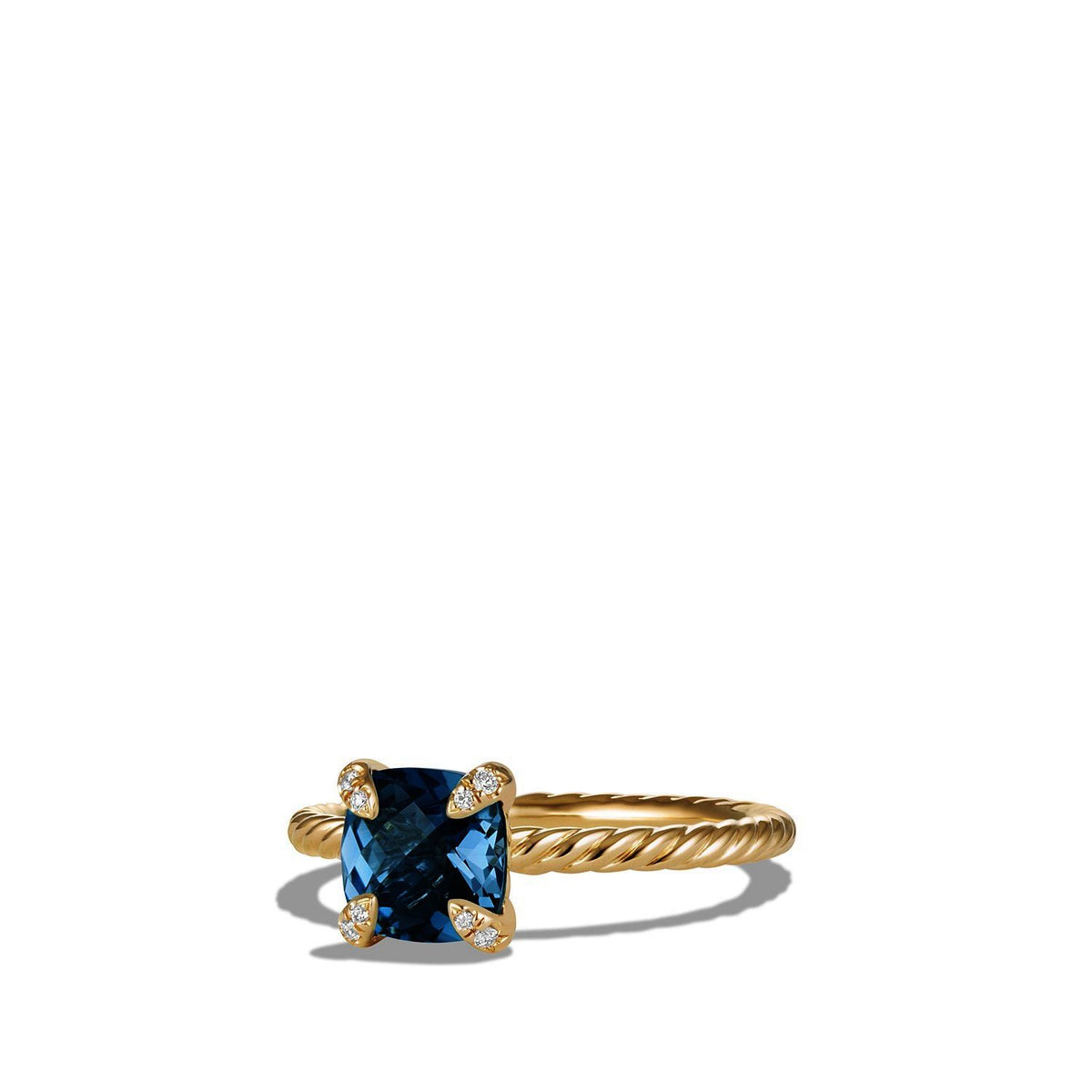 Chatelaine Ring with Hampton Blue Topaz and Diamonds in 18K Gold