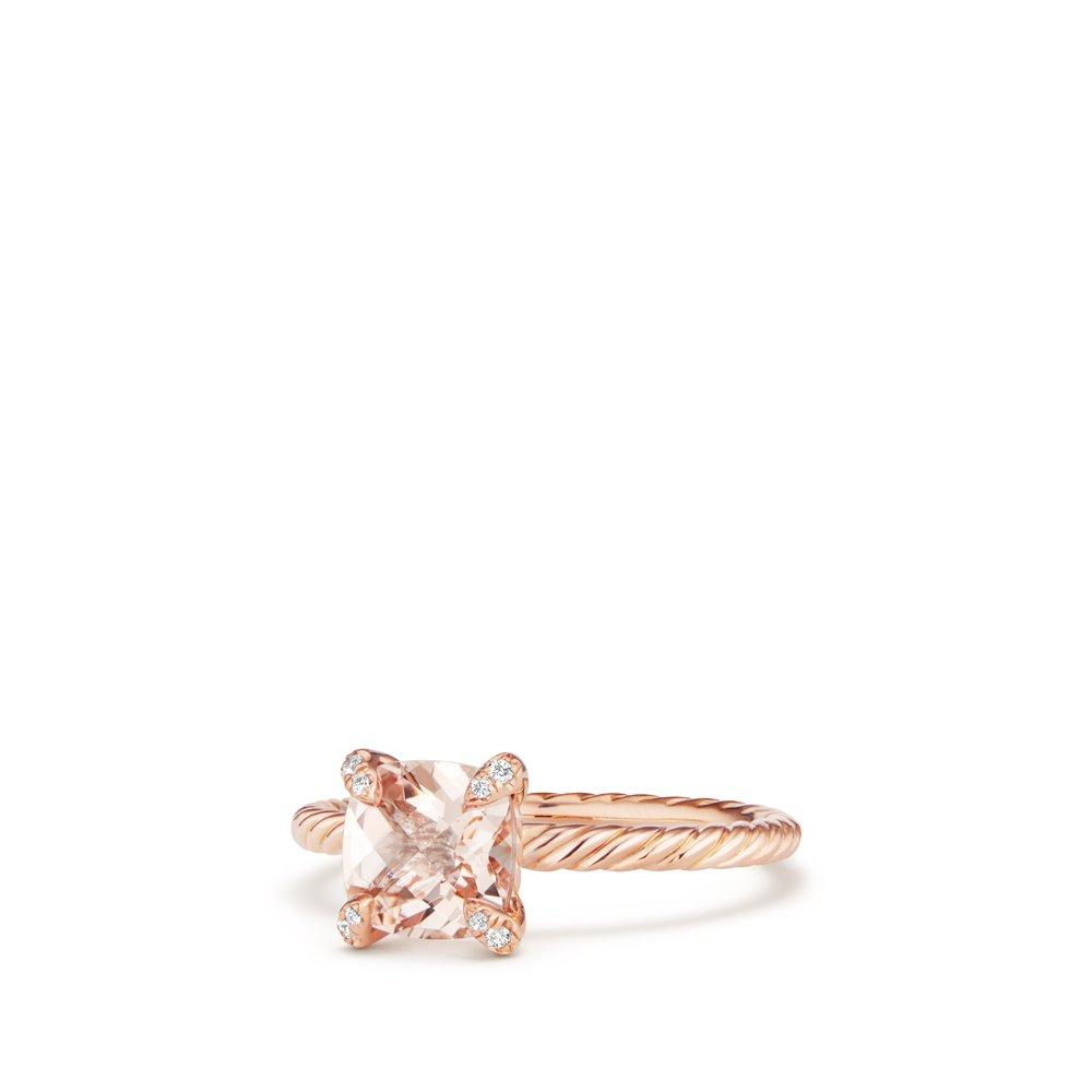 Chatelaine Ring with Morganite and Diamonds in 18K Rose Gold