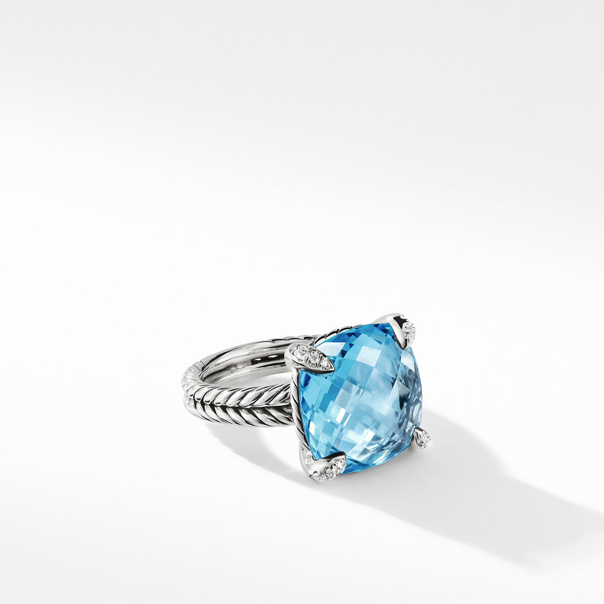 Chatelaine Ring with Blue Topaz Diamonds
