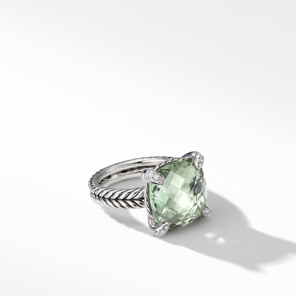 Chatelaine Ring with Prasiolite and Diamonds