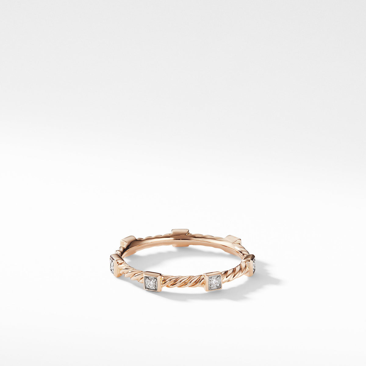 Cable Collectibles Cable Stack Ring in 18K Rose Gold with Diamonds