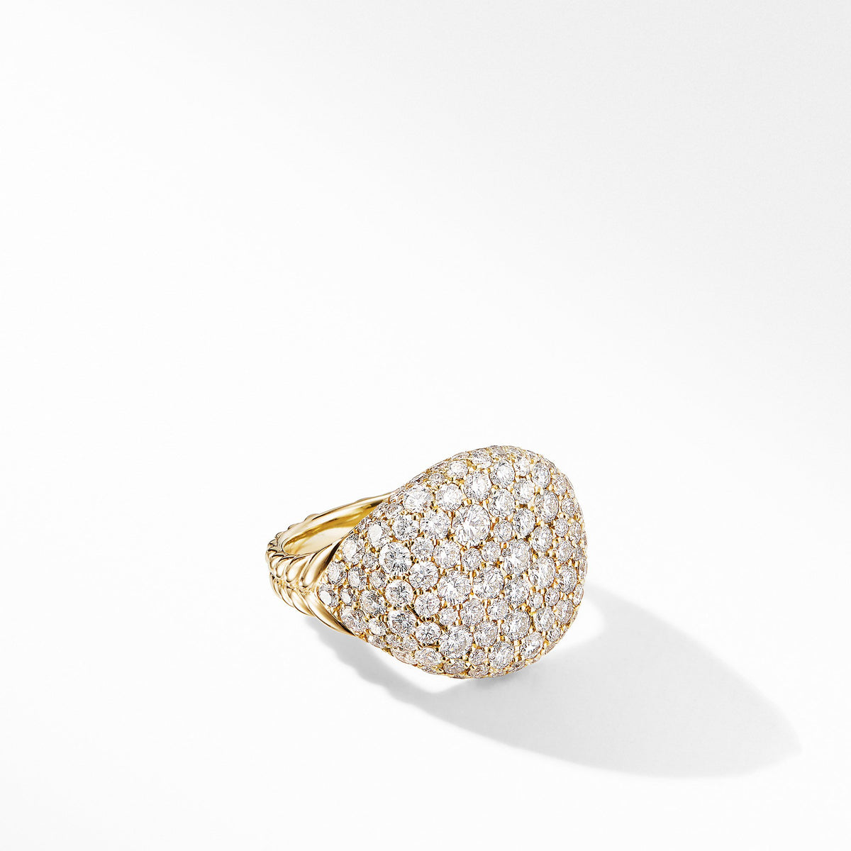Chevron Pinky Ring in 18K Yellow Gold with  Pave Diamonds