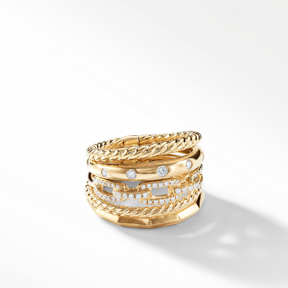 Stax Wide Ring with Diamonds in 18K Gold