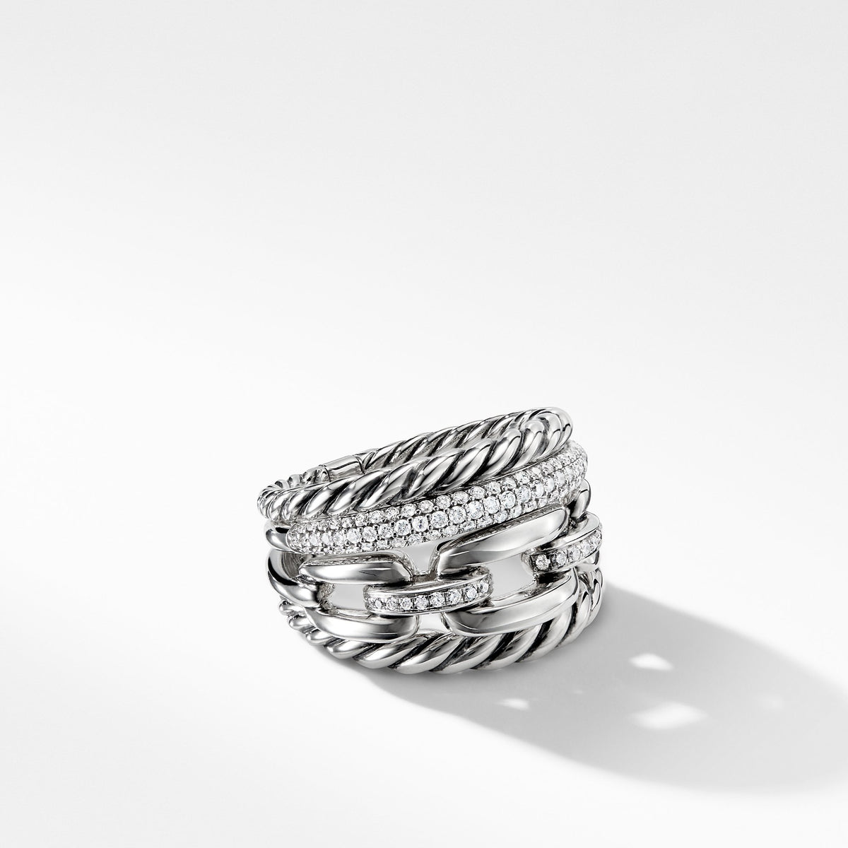 Wellesley Link Four-Row Ring with Diamonds