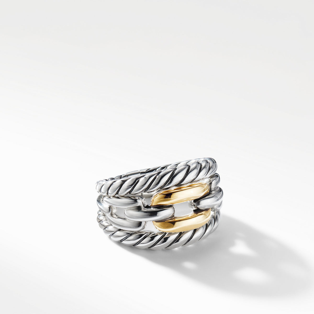 Wellesley Link Three-Row Ring with 18K Gold