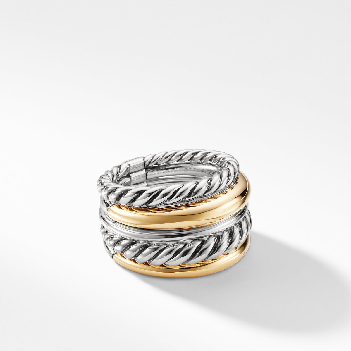 Pure Form Wide Ring with 18K Gold