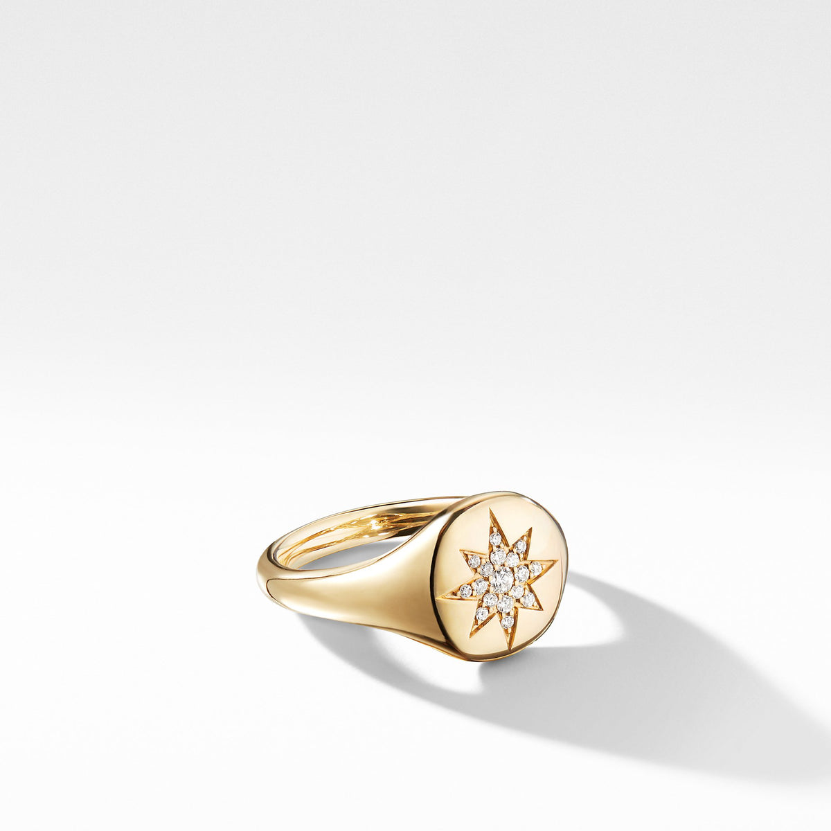 Cable Collectibles Compass Mini Pinky Ring in 18K Gold with Diamonds