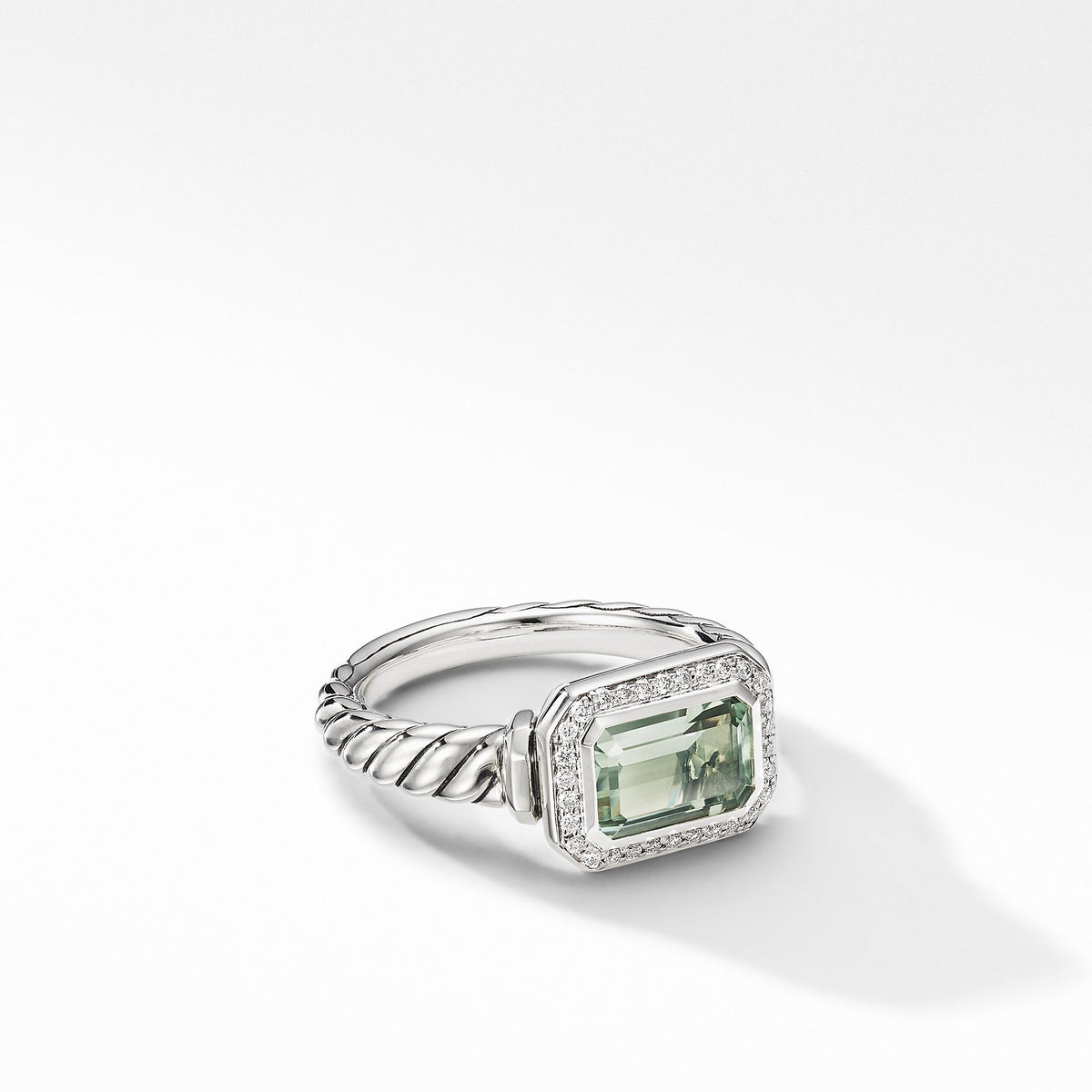 Novella Ring with Prasiolite and  Pave Diamonds