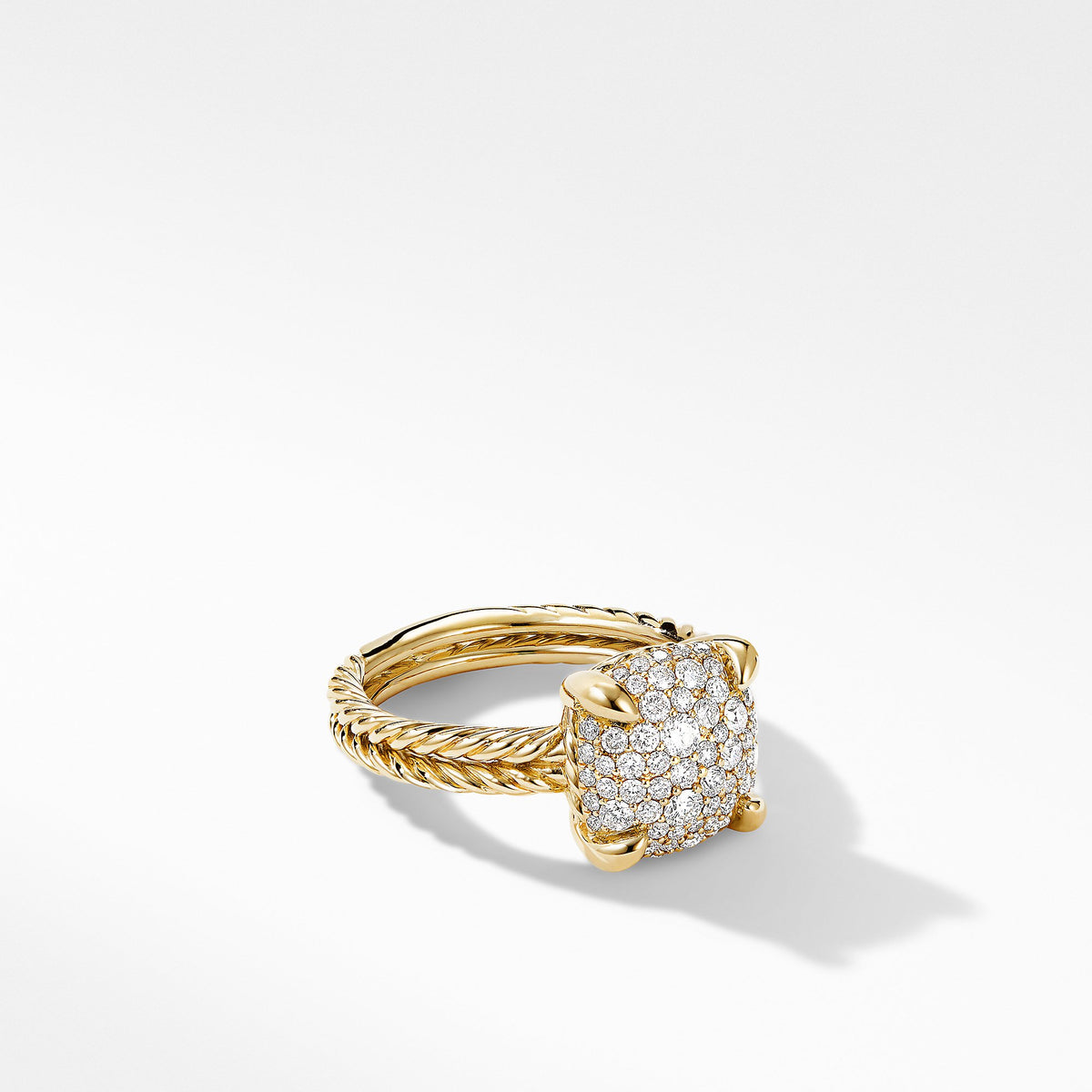 Chatelaine Ring in 18K Yellow Gold with Full  Pave Diamonds