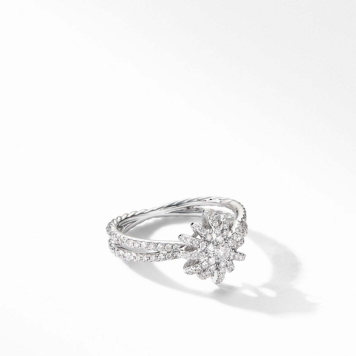 Starbust Ring in 18K White Gold with  Pave Diamonds