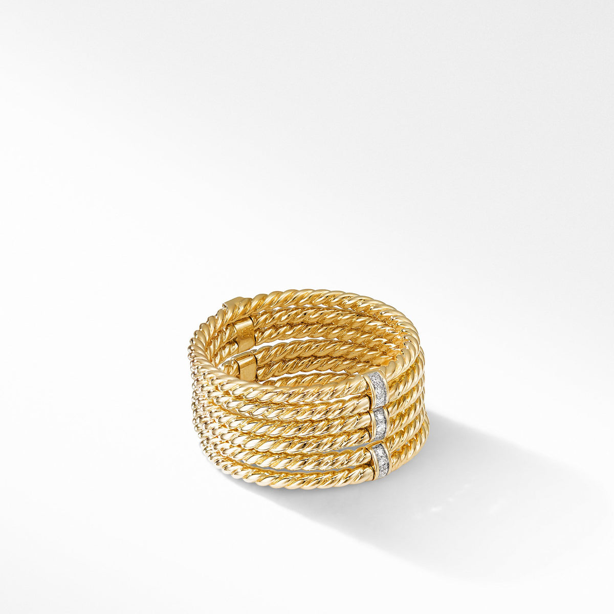 DY Origami 6-Row Cable Ring in 18K Yellow Gold with Diamonds