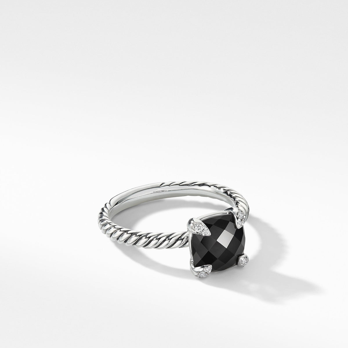 Chatelaine Ring with Black Onyx and Diamonds