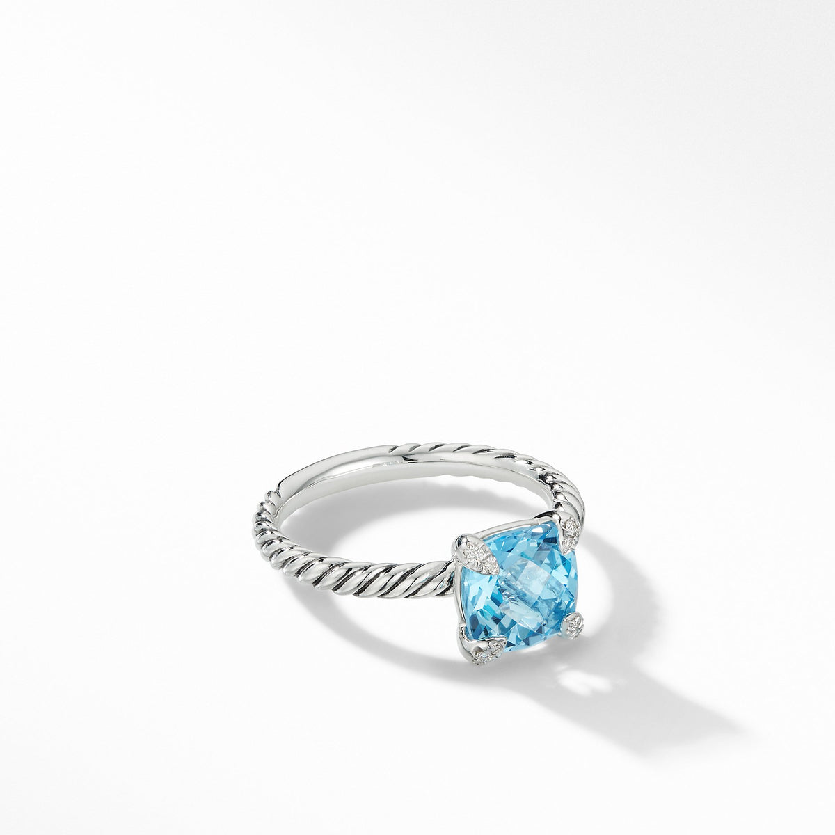Chatelaine Ring with Blue Topaz and Diamonds