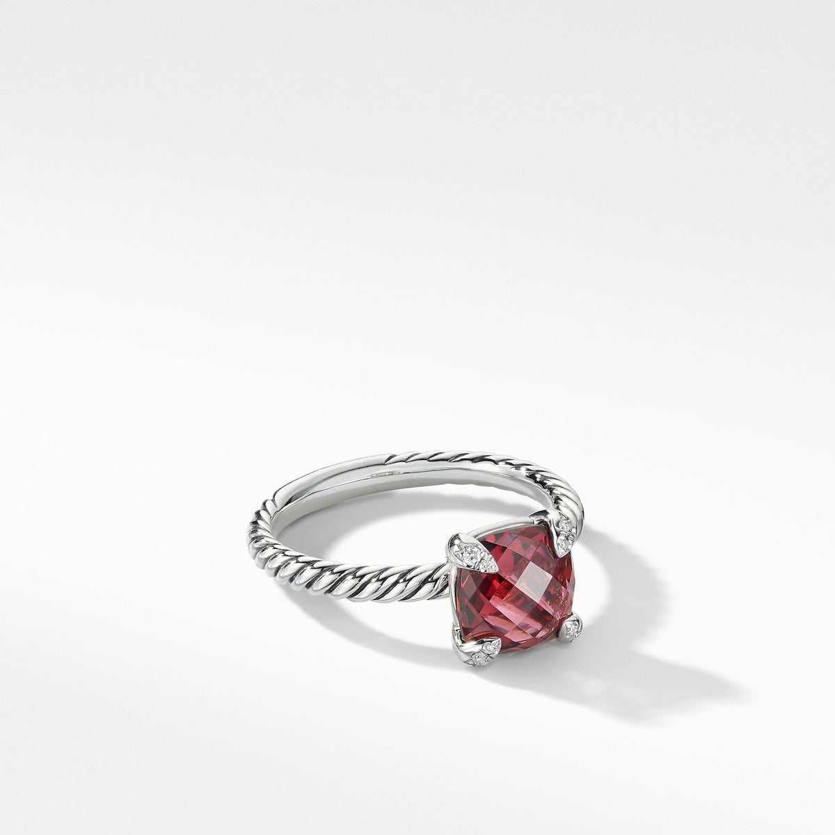 Chatelaine Ring with Rhodalite Garnet and Diamonds