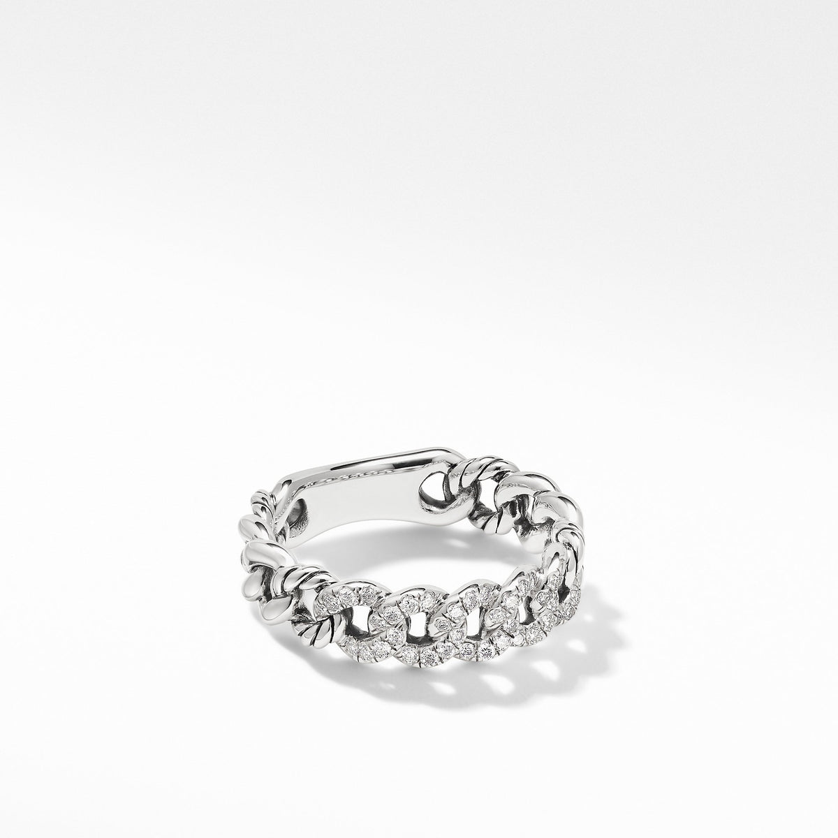 Belmont Curb Link Narrow Ring with  Pave Diamonds