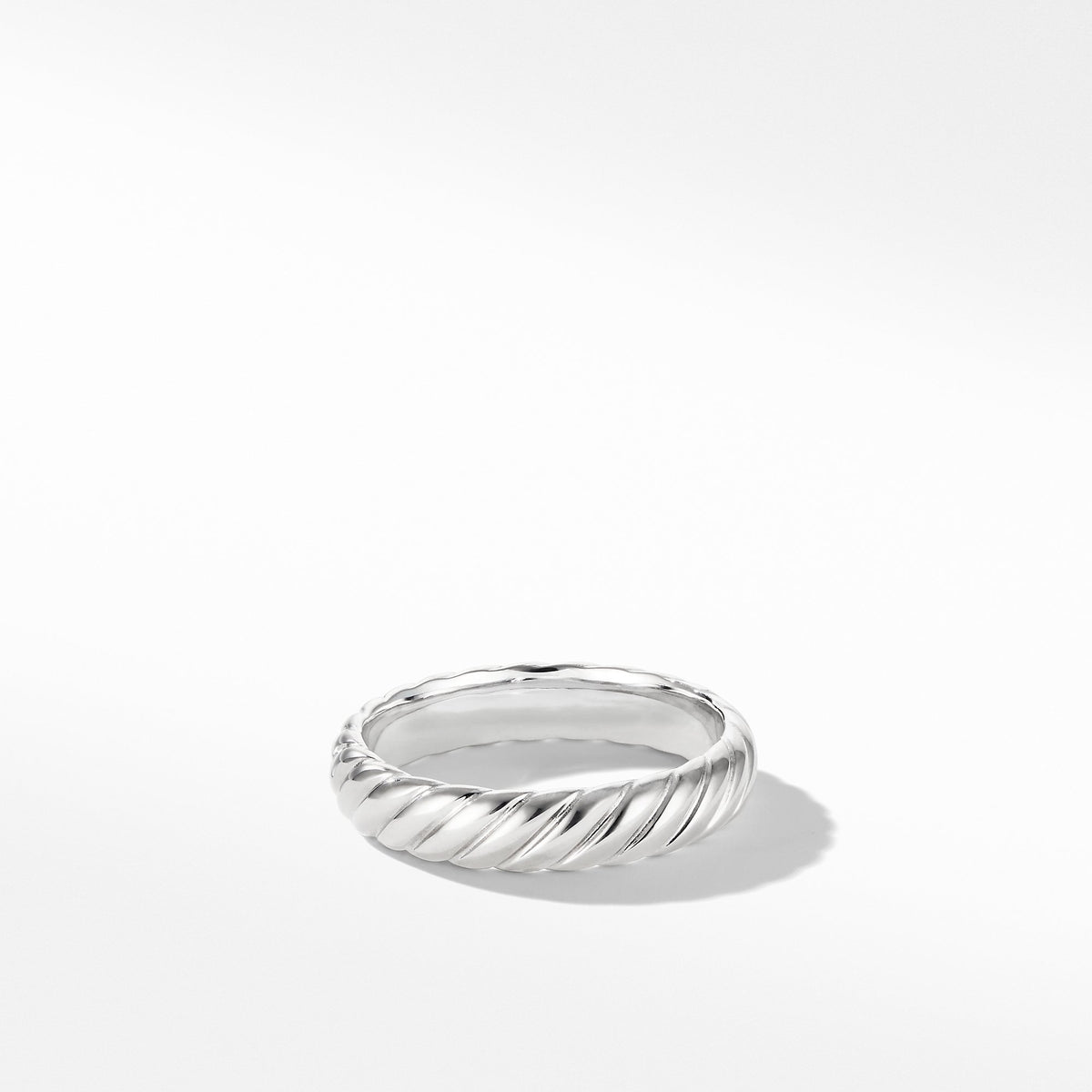 Cable Band Ring in 18K White Gold