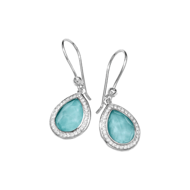 Lollipop Mini Teardrop Turquoise Doublet and Diamond Earrings
