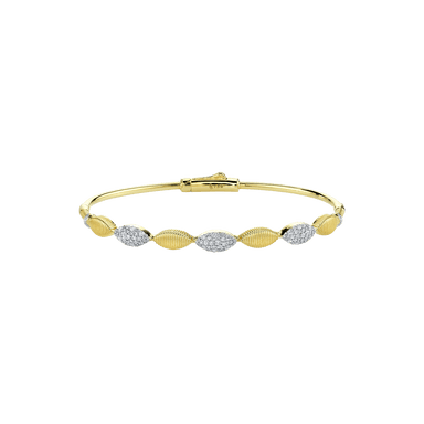 Pave Diamond & Strie Marquise Bangle