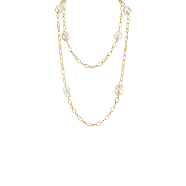 Baroque and Freshwater Pearl Strie Oval Link Necklace