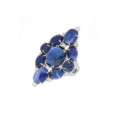 18K White Gold Blue Sapphire & Diamond Cluster Ring
