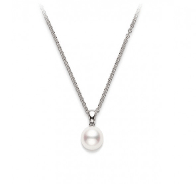 Akoya Cultured Pearl Pendant in White Gold