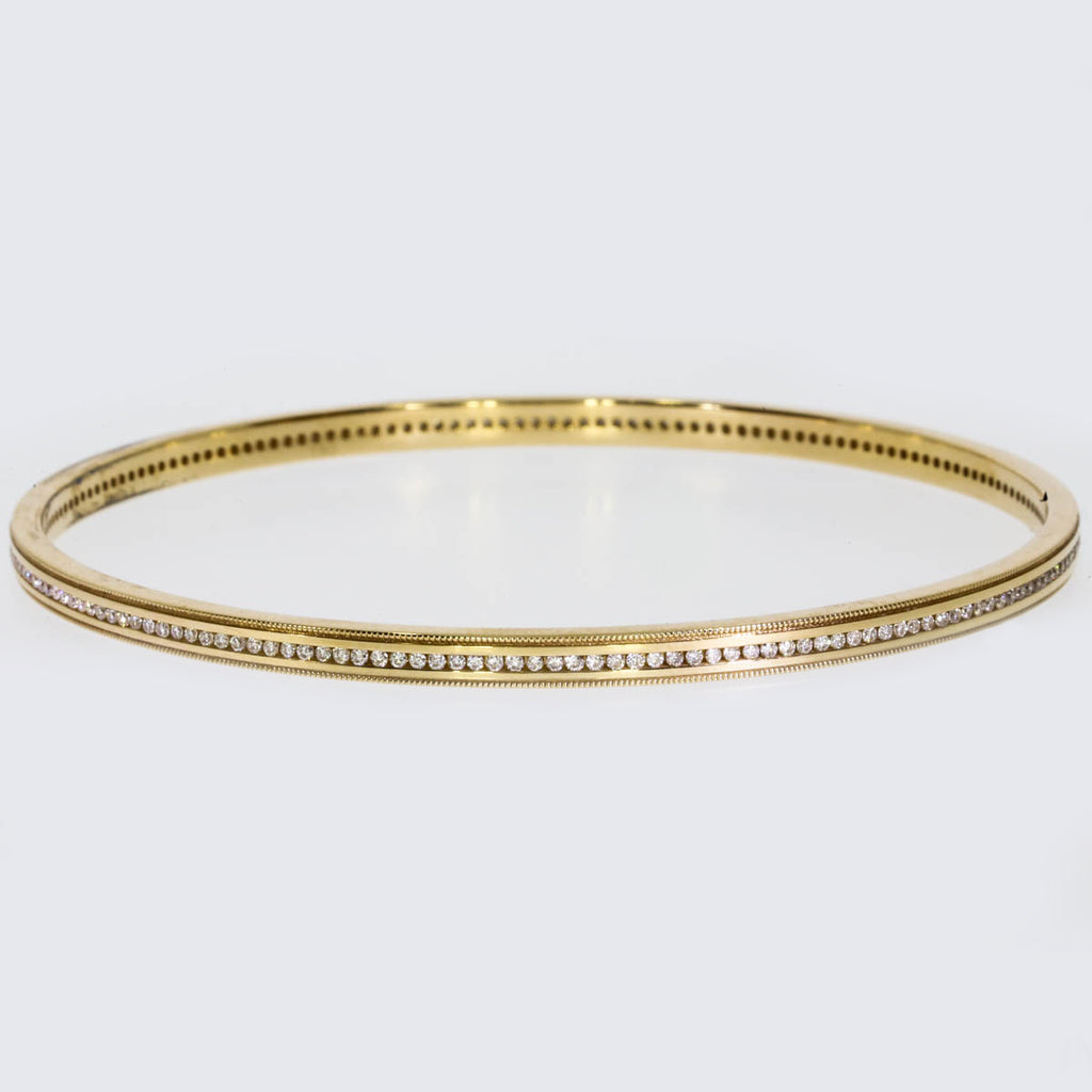 18K Yellow Gold Channel Set Bangle