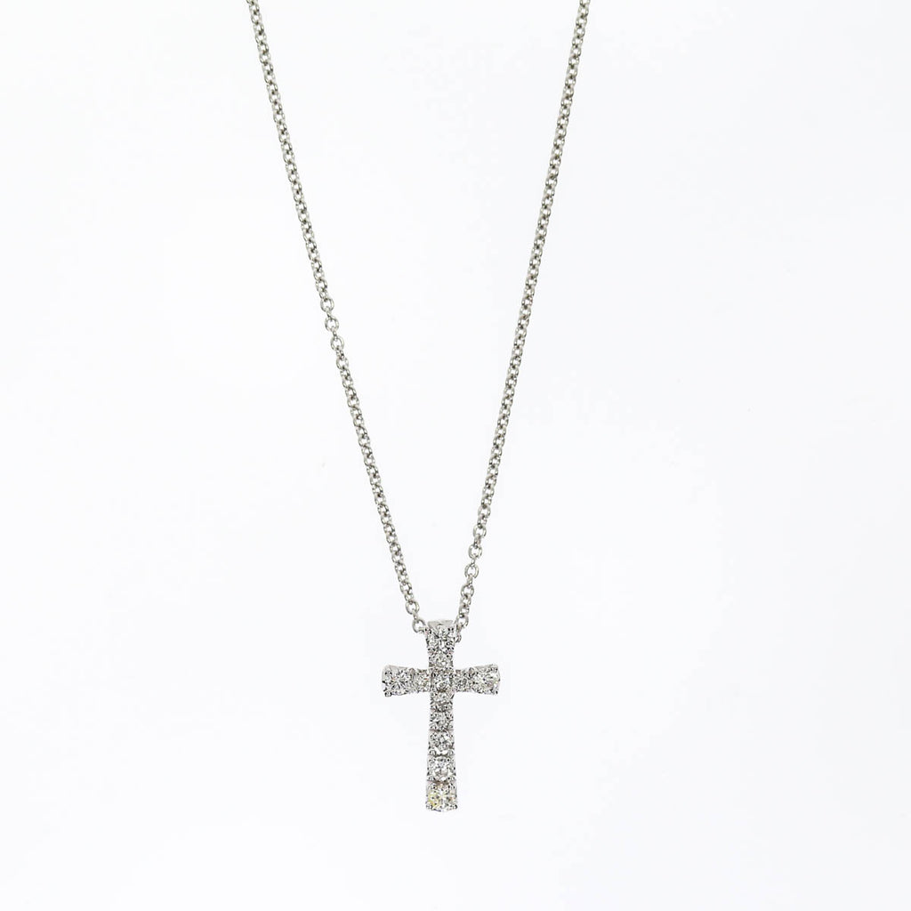 14K White Gold Pave Cross Necklace