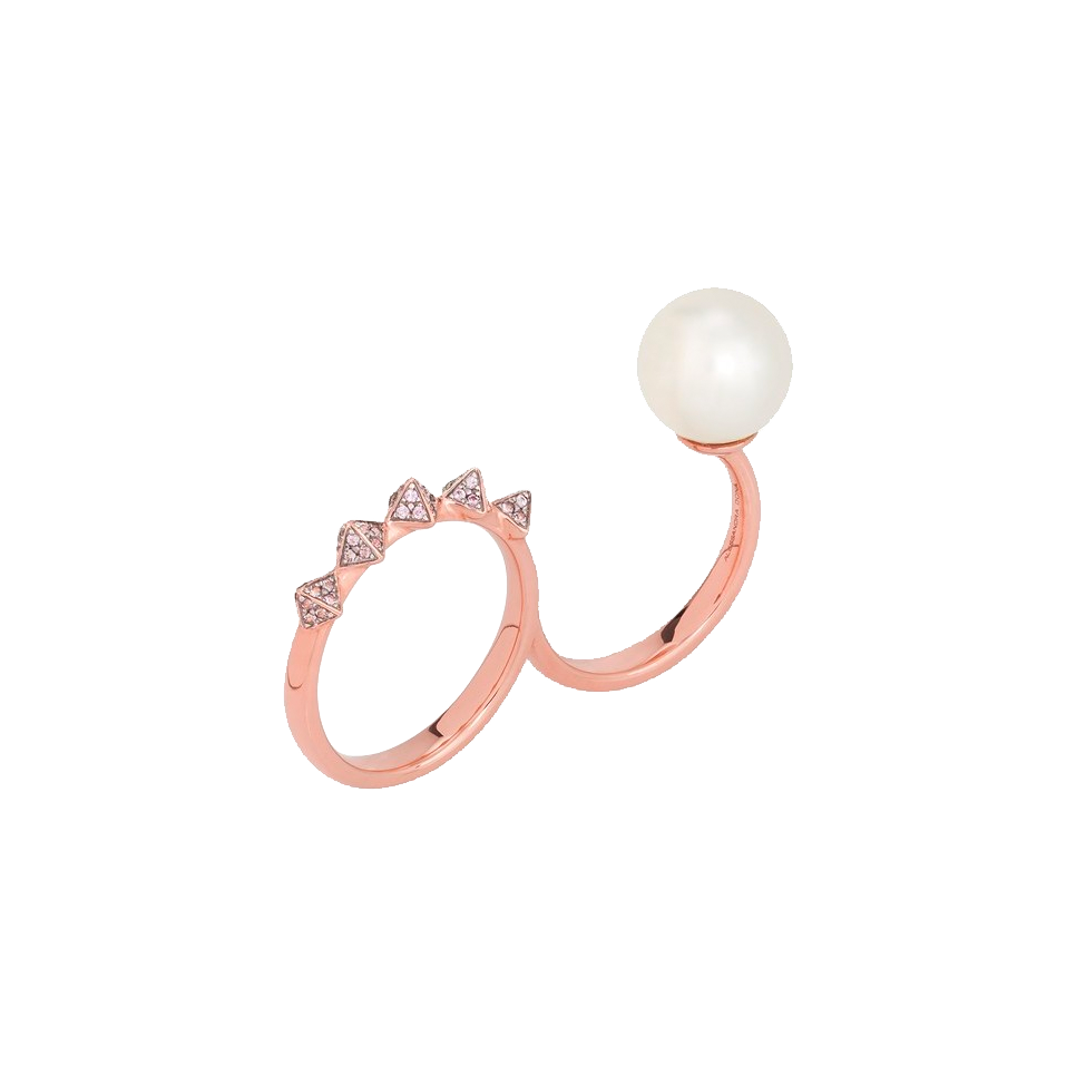 White South Sea Pearl and Pink Sapphire Spike Double Ring