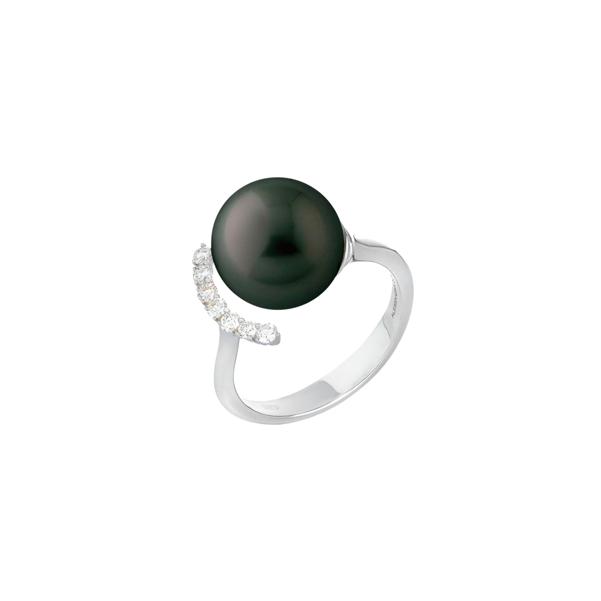 Black South Sea Pearl and Diamond Ring