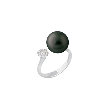 Black South Sea Pearl & Diamond Ring