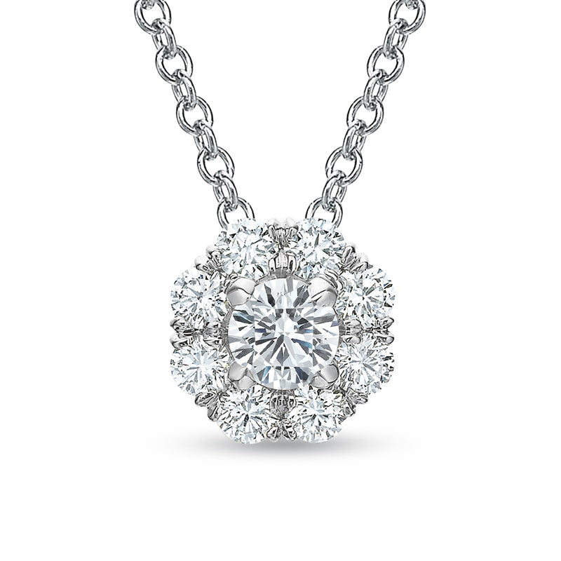 18K White Gold Round Halo Cluster Necklace