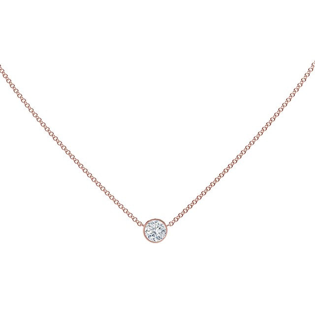 18K Rose Gold Round Diamond Necklace