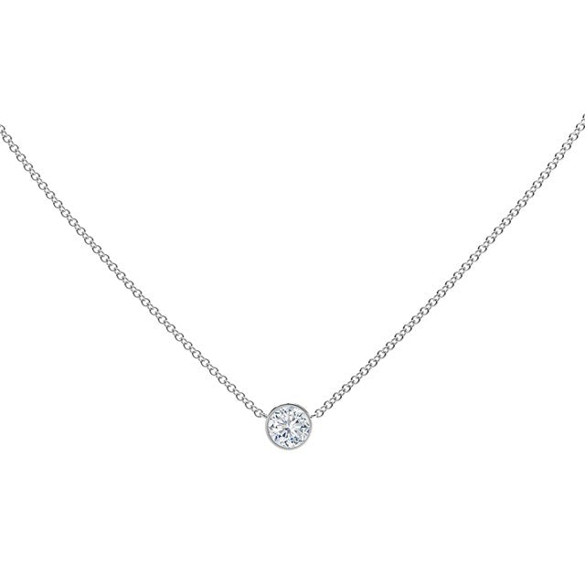 18K White Gold Round Diamond Necklace