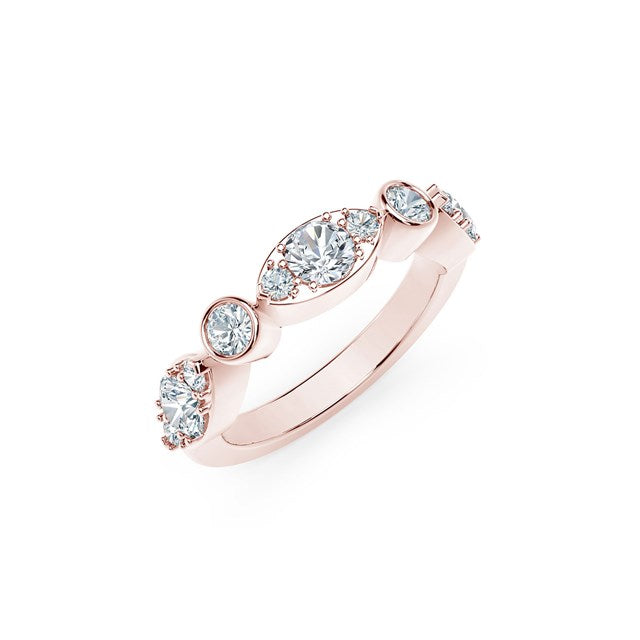 18K Rose Gold Delicate Diamond Ring