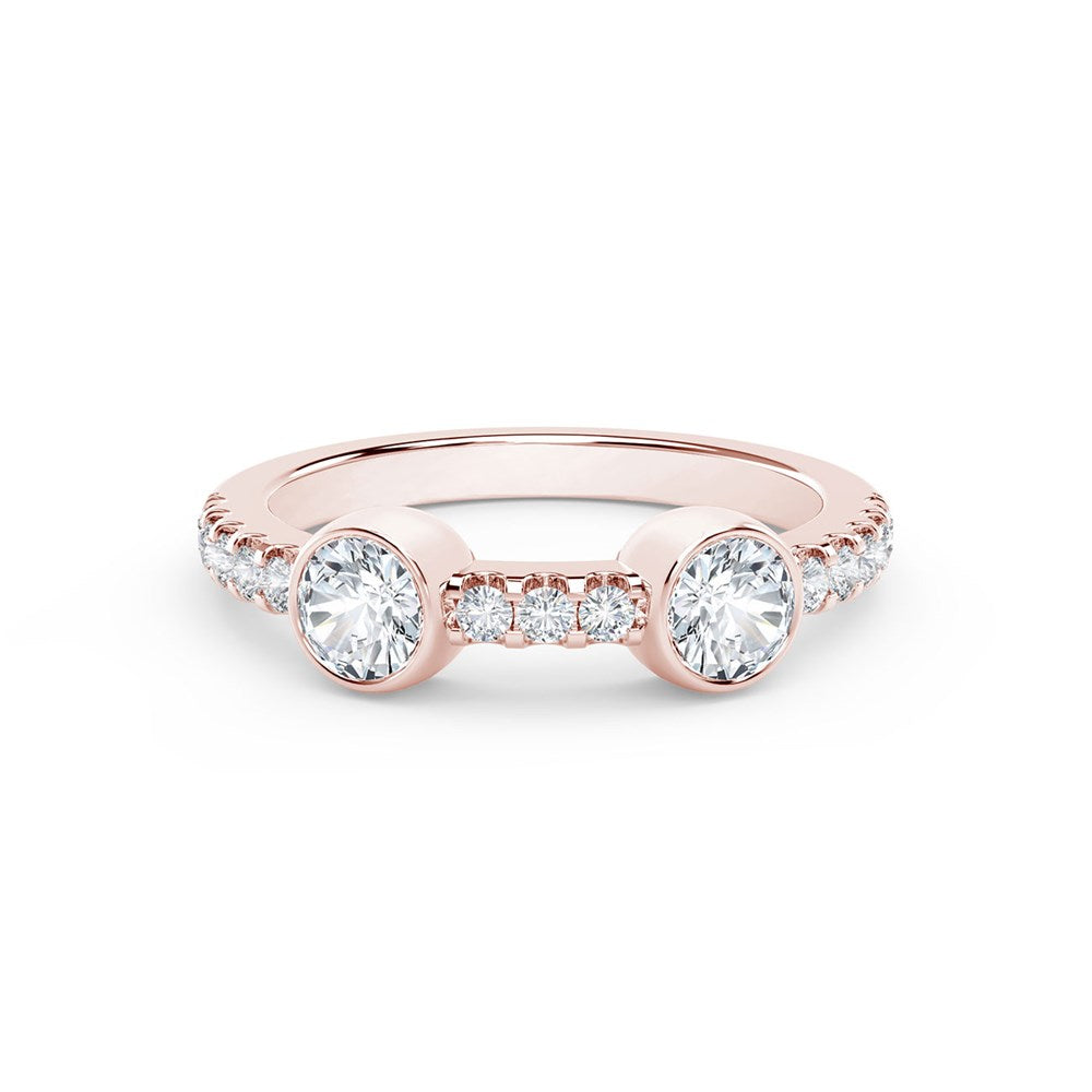 18K Rose Gold Two Stone Diamond Ring
