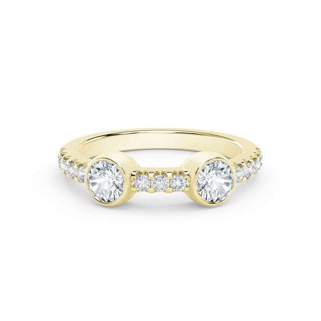 18K Yellow Gold Two Stone Diamond Ring