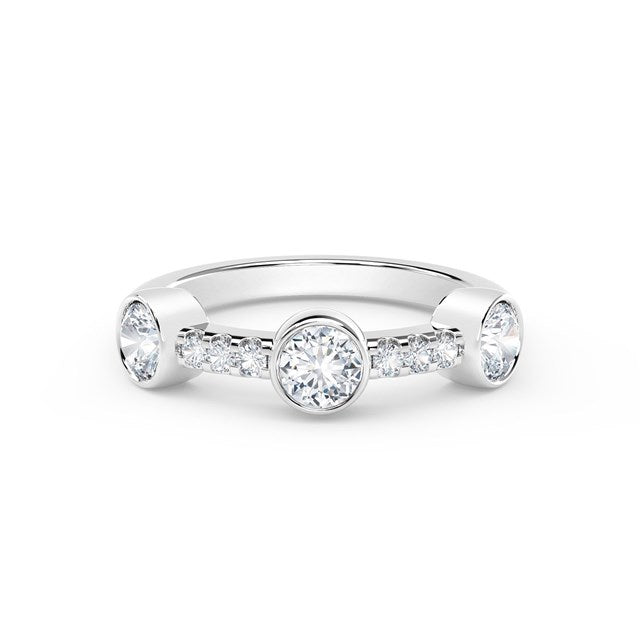 18K White Gold Three Stone Diamond Ring