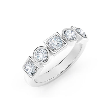18K White Gold Stackable Bezel Set Diamond Ring