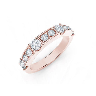 18K Rose Gold Diamond Row Ring